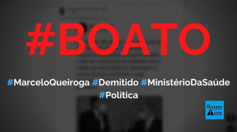 Marcelo Queiroga foi demitido do Ministério da Saúde, diz boato (Foto: Reprodução/FacebooK)