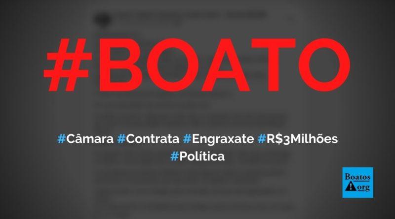 Câmara gastou R$ 3,135 milhões com graxa e serviços de engraxate em licitação, diz boato (Foto: Reprodução/Facebook)