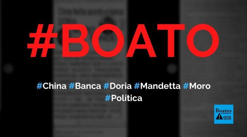 China fecha acordo e banca Doria, Moro e Mandetta em 2022, diz boato (Foto: Reprodução/Facebook)