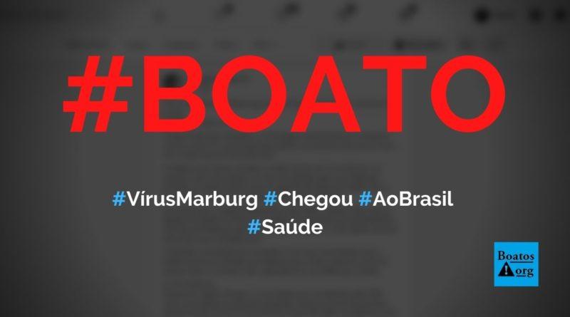 Vírus Marburg chegou ao Brasil e tem caso confirmado em Campo Grande (MS), diz boato (Foto: Reprodução/Facebook)